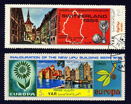 Two cancelled Yemen stamps: Football World Championship Switzerland 1954Jules Rimet Cup and Inauguration of UPU building in Bern