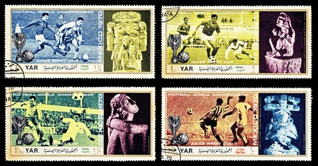 4  cancelled Yemen stamps: Football World Championship in Mexico 1970 / Jules Rimet Cup  Stock Photo - 9397622