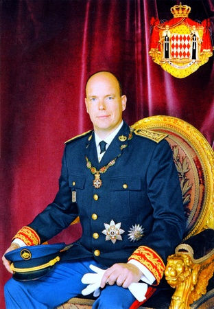 Monaco post card showing prince Albert II before wedding sitting on the throne wearing uniform