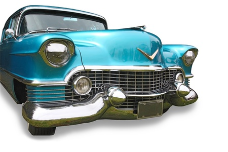 Big blue American classic car on white background