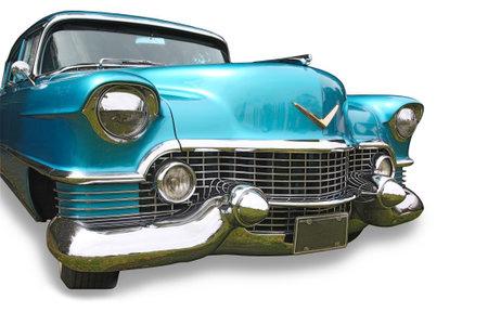 dream car: Gran coche clásica americana azul sobre fondo blanco Editorial