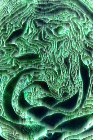 Green magical abstract waves glowing in the dark space Stock Photo - 11962613