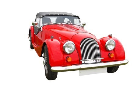Old vintage red classic convertible car isolated on white background