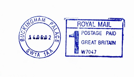 Close up of official post office postmark on the envelope of Buckingham Palace, residence of Queen of United Kingdom Stock Photo