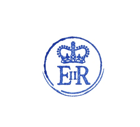 queen elizabeth: close up of the personal logo of HM Queen of United Kingdom isolated on white