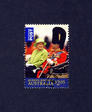 queen elizabeth: AUSTRALIA - CIRCA 2009  A postally used stamp printed in Australia shows Queen Elizabeth II and Prince Philip,Duke of Edinburgh in a open carriage, circa 2002