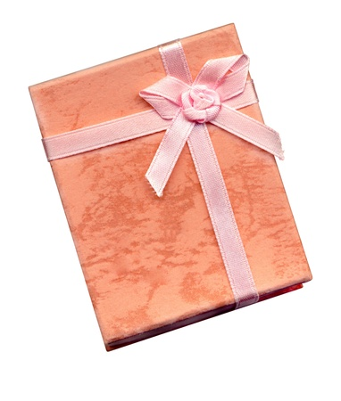 Top view of small pink gift box with ribbon isolated on white Stock Photo - 12625566