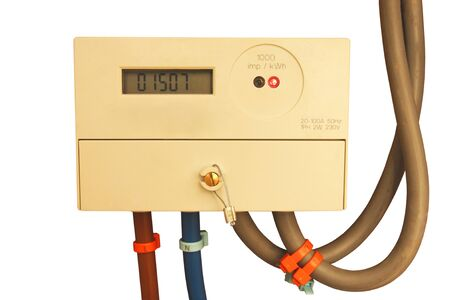 Modern digital electrical meter with cables isolated on white background