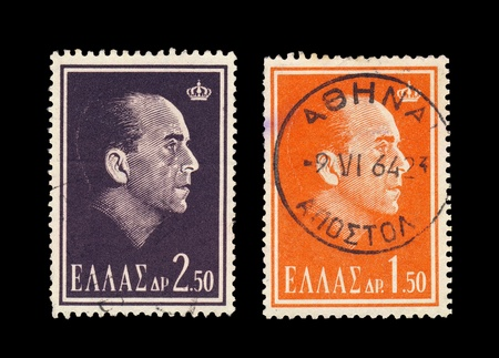 GREECE - CIRCA 1964  Two canceled cancelled stamps show Greek monarch Paul I portrait Editöryel