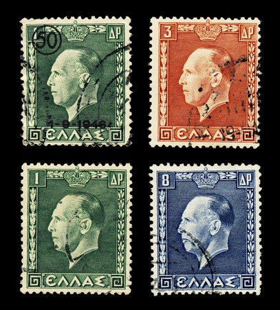 GREECE - CIRCA 1937 Four postally used stamps show Greek King George II portrait, the top left stamp bears surcharge
