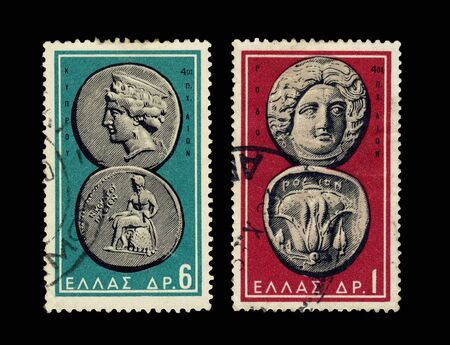 greek coins: GREECE - CIRCA 1959-1963. Ancient Grecian coins from 3 - 5 centuries B.C. on two stamps printed in Greece circa 1959 and 1963. Stock Photo
