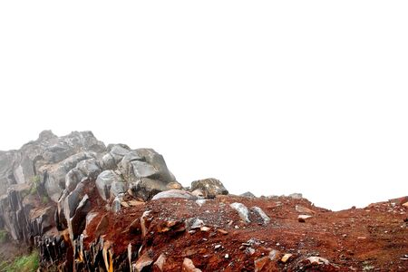 extreme close up: Stone wall, foggy mountain top isolated on white as a base of design