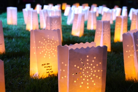 A group of glowing candle bags on the grass at night photo