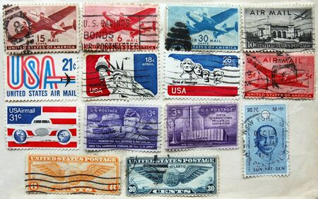 patton: Part of philatelic album page with old postmarked American stamps, mostly air mail  Editorial