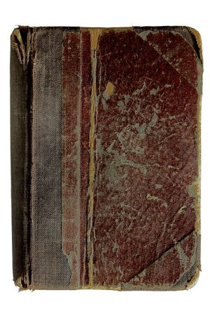 Old brown tattered book bible isolated on white background