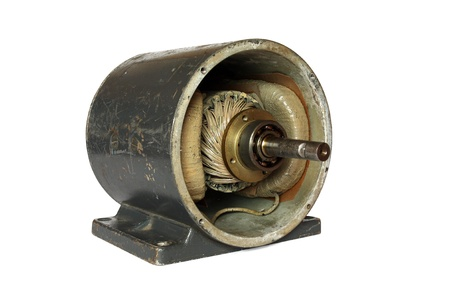 Opened used direct current electric motor isolated on white background