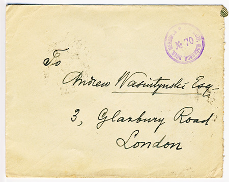 Very old letter posted from Moscow, tsarist Russia to London, England with war censor stamp on the front
