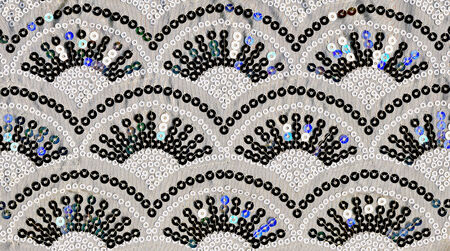 sewn up: Repeating geometric background with arches  Sequined piece of material Stock Photo