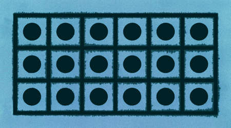 Abstract blue geometric frost textured background with circles and squares