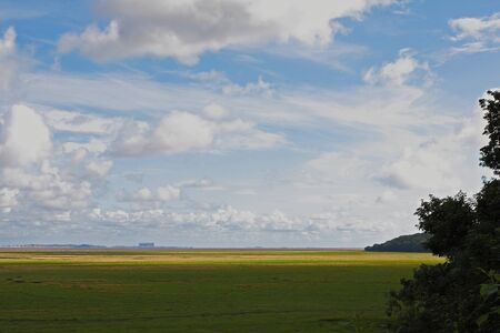 Flat landscape with agricultural land of the Morecambe bay on the north west coast of England,UK with yellow green pasture land on a nice sunny day with blue sky and white clouds. If zoomed near horizon on the left one can spot a line of people walking
