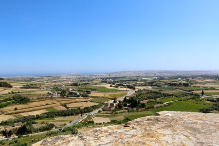 Panoramic view of countryside of Malta from above Stock Photo