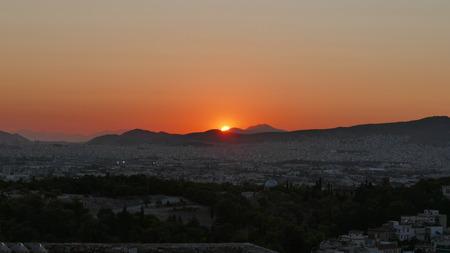 Athenian Summer Sunset Stok Fotoğraf