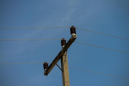 ceramic insulator on the electric pole