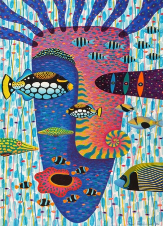 clown triggerfish: Artist :   Opas ChotiphantawanonTitle :   Happiness 1Technique :   Acrylic on Canvassize :   70x100 cm.Year :   2011 Stock Photo