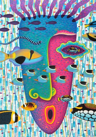clown triggerfish: Artist :   Opas ChotiphantawanonTitle :   Happiness 3Technique :   Acrylic on Canvassize :   70x100 cm.Year :   2011