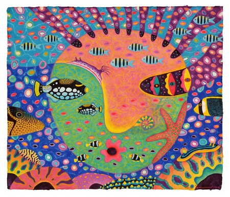 clown triggerfish: Artist :   Opas ChotiphantawanonTitle :   My Daughter 1, 2009Technique :   Acrylic, Oil Pastel on sa papersize :   79 x 68 cm.Year :   2009 Stock Photo