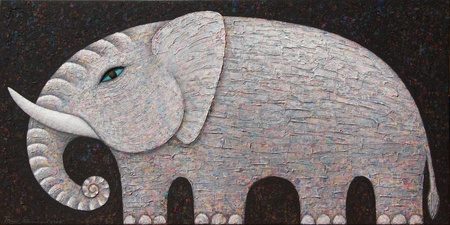 Artist :   Opas ChotiphantawanonTitle :   White ElephantTechnique :   Acrylic on Canvassize :   120 x 60 cm.Year :   2008
