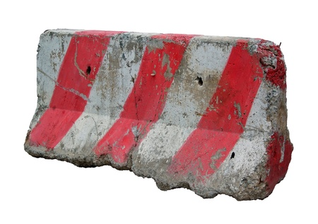 roadwork: Red and white concrete barriers blocking the road. Isolated on white background Stock Photo