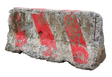 Red and white concrete barriers blocking the road. Isolated on white background Stock Photo - 11718763