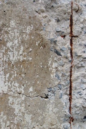 Texture of old weathered concrete wall with rusty warning stripes photo