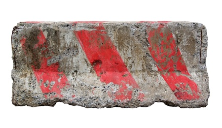 Red and white concrete barriers blocking the road. Isolated on white background Banque d'images