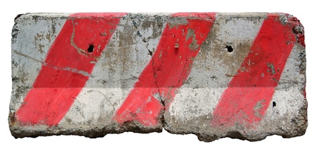 Red and white concrete barriers blocking the road. Isolated on white background photo