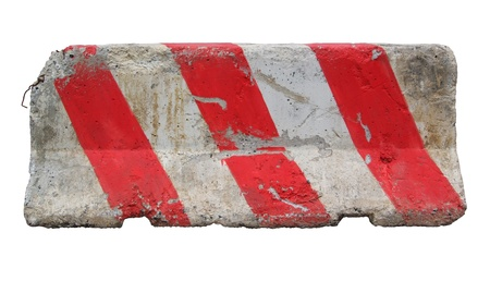 Red and white concrete barriers blocking the road. Isolated on white background Stock Photo - 11718757