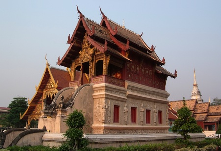 The beauty of Thai architecture at Scripture Repository Wat Phra Singh, Chiang Mai. Stock Photo - 11718781