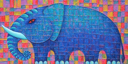 Blue Elephant 2008  Original acrylic painting on canvas