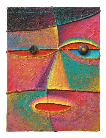 'face painting': Face 10  Original acrylic painting on canvas  Stock Photo