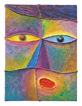 mixed media: Face 11  Original acrylic painting on canvas