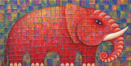 Red Elephant 2008  Original acrylic painting on canvas