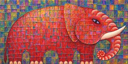 Red Elephant 2008  Original acrylic painting on canvas