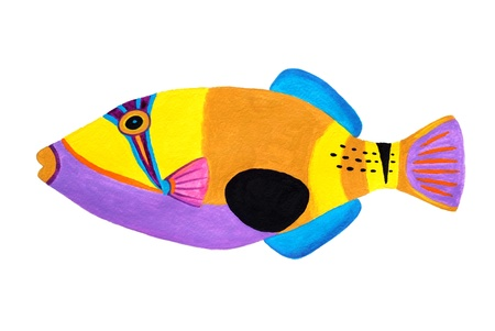 Colorful painting Collection of trigger fishes set Stock Photo - 13519751