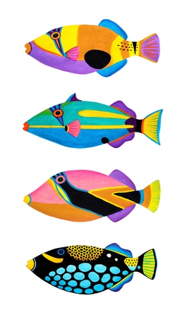 triggerfish: Colorful painting Collection of trigger fishes set