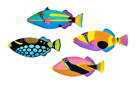 Colorful painting Collection of trigger fishes set Stock Photo - 13519757