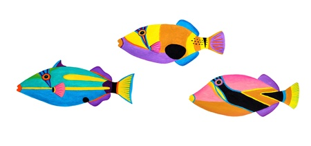 Colorful painting Collection of trigger fishes set  Stock Photo - 13519756
