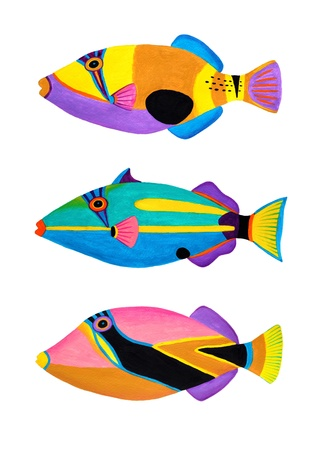 Colorful painting Collection of trigger fishes set  Stock Photo - 13519755