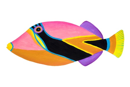 Colorful painting Collection of trigger fishes set  Stock Photo - 13519753