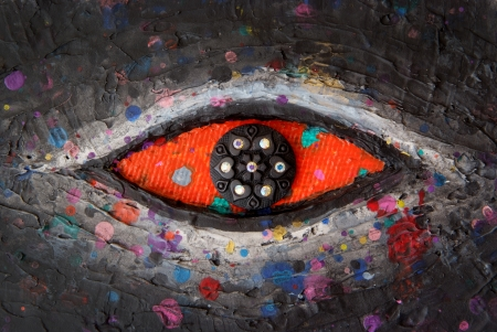 Red Eye Texture of colorful painting Stock Photo